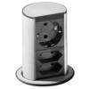 Pultba építhető 1x230VAC  + 2xEURO (földeletlen) dugalj, kivágási méret: 79mm,  rozsdamentes fedlappal 928.003 ELEVATOR