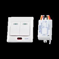 Rádiófrekvenciás kapcsoló, süllyesztett / falon kívüli 2-csatornás, 230VAC, max.: LED 200W / norm izzó 600W, hatótáv 50m, 99102