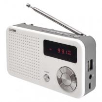 Asztali rádió, FM, akkumulátorral (10h),MP3 lejátszás, 3W, micros SD kártya olvasó,  USB-ről is tölthető