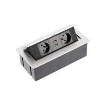 Pultba építhető 2x230VAC  + 2 USB aljzat 2,1A, 2fm-vezetékkel  ALU AE-PBSUC2GS-53