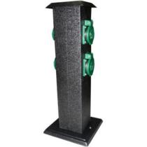 Kültéri energiaoszlop 400mm magas, fekete, acél, 4XHT zöld dugalj IP44 352102
