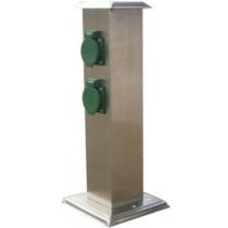 Kültéri energiaoszlop 400mm magas, acél, 4XHT zöld dugalj IP44 352202
