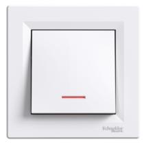 Asfora 106 váltó kapcsoló szimbólummal jelzőfénnyel kerettel fehér EPH1500121