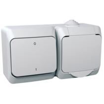 Cedar Plus 162+102 dugalj+kétpólusú kapcsoló IP44 fehér WDE000502