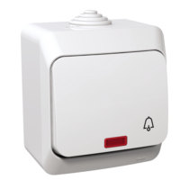 Cedar Plus N101 nyomó kapcsoló csengőjellel jelzőfénnyel Ip44 fehér WDE000515