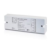 RF dimmer vevő, egyszínű szalagokhoz, 4-csatornás, nyomógombbal illetve távirányítóval vezérelhető (12V/96W - 4x192W/24V-szab.SL-2501NEA