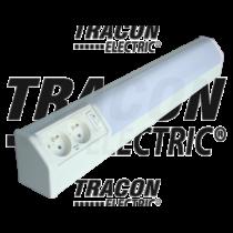 Bútorvilágító 10W 2db csapos dugaszolóaljzattal, 500mm hosszú, kapcsolóval, fehér  T8  G13 TLFL-10F