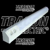 Bútorvilágító 30W 2db dugaszolóaljzattal, 1060mm hosszú, kapcsolóval, fehér  T8  G13 TLFL-30