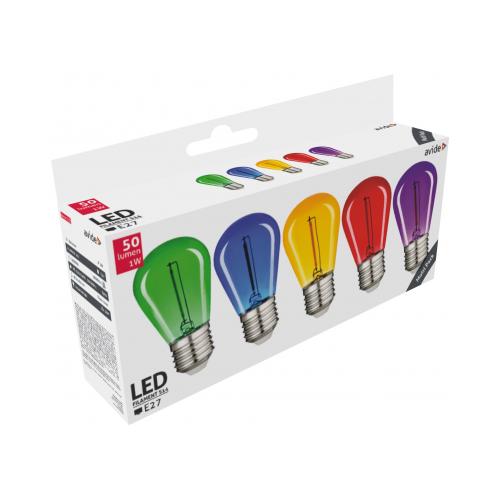 Led E27 0,6W dekor fényforrás 30lm piros/kék/sárga/zöld/lila ABDLF-0.6W-B5