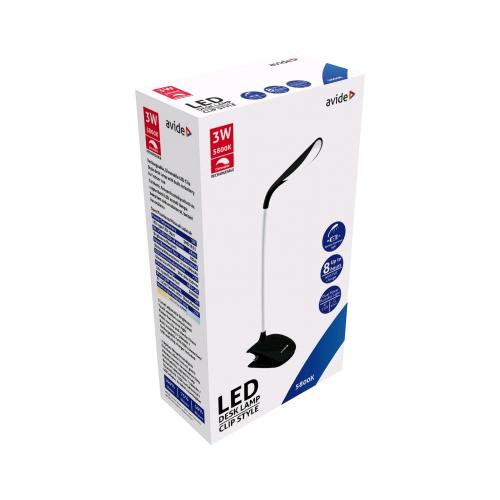 Csiptetős lámpa, fekete 3W 85lm, fényerőszabályozható LI-ON akkumulátorral, töltővel ABLDL-CLIP-3W-BL