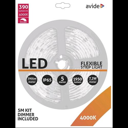 Led szalag SMD 60 ledes 7,2W/m 4000K 390lm/m 1950lm 12VDC IP65 ABLSBL12V5050-30NW-D65