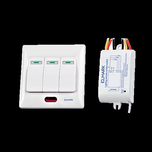 Rádiófrekvenciás kapcsoló, süllyesztett / falon kívüli 3-csatornás, 230VAC, max.: LED 200W / norm izzó 600W, hatótáv 50m, 99103