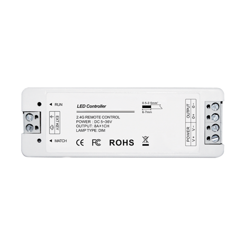 RF dimmer vevő, fehér LED-szalagokhoz, 1-csatornás, nyomógombbal illetve távirányítóval vezérelhető, 8A 12/24V (99RREMOTE1-hez) 99RECEIVER1
