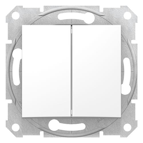 Sedna 106+6 dupla váltó kapcsoló fehér, rugós bekötéssel  SDN0600121
