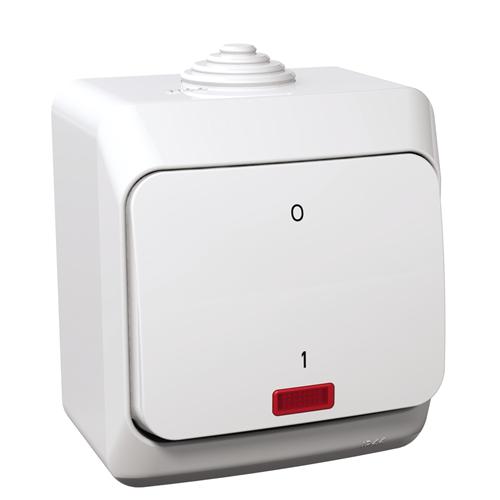 Cedar Plus 102 kétpólusú kapcsoló jelzőfénnyel IP44 fehér WDE000521