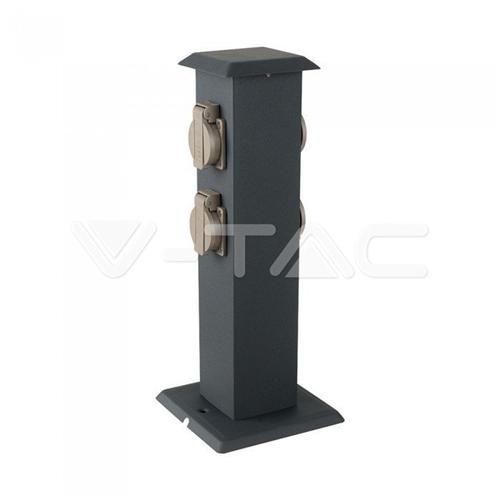 Kültéri energiaoszlop, rozsdamentes,  400mm magas, acél, 4XHT dugalj IP44 8821